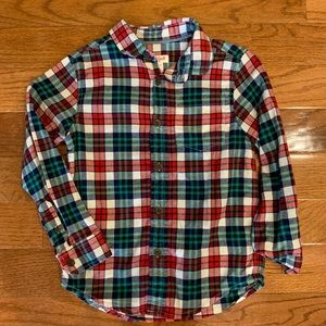 Cat & Jack Red Green Plaid Flannel Button Up Shirt
